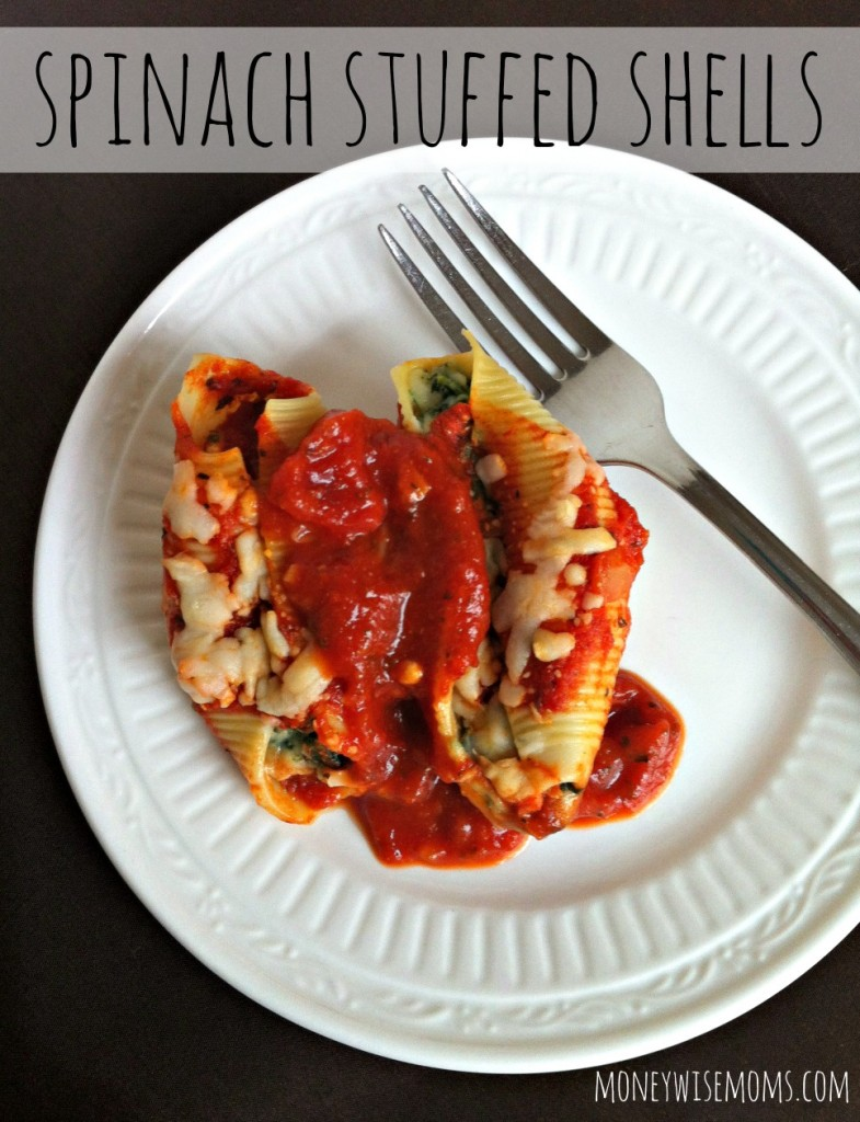 Spinach Stuffed Shells - easy vegetarian freezer meal that's a real winner for busy nights