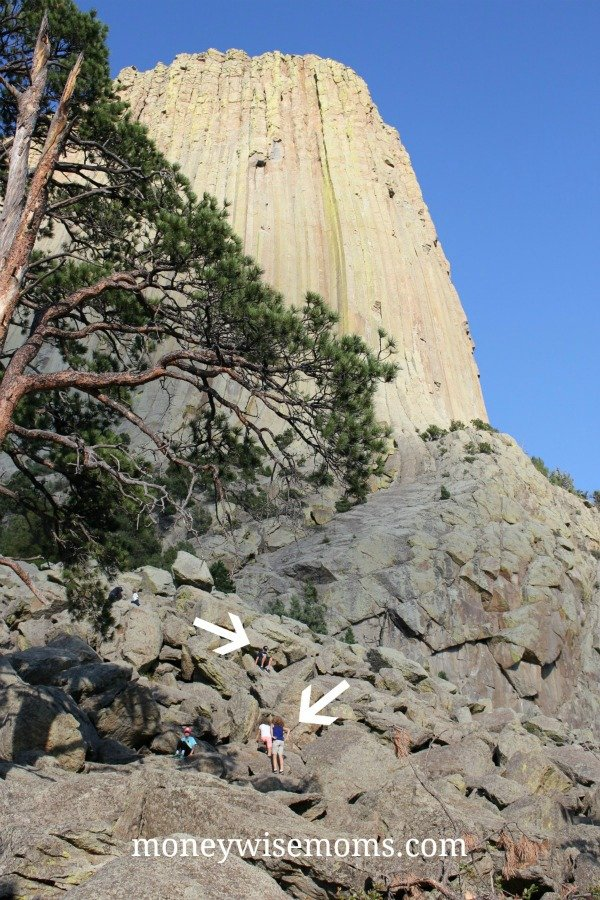 Climbing boulders at Devils Tower National Monument