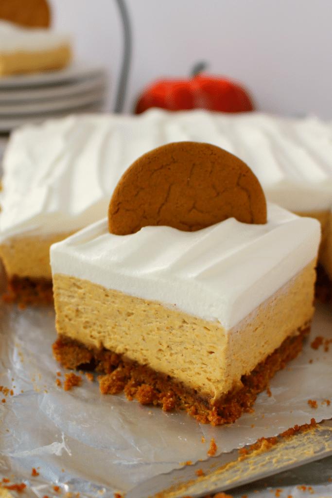 No Bake Pumpkin Cheesecake Bars from Delightful E Made
