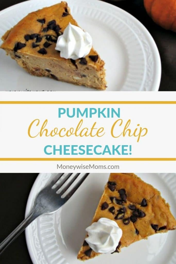 Pumpkin chocolate chip cheesecake is the perfect holiday dessert. It's a delicious and easy cheesecake recipe that the whole family loves. This is a great Thanksgiving dessert recipe but it is incredible year round!
