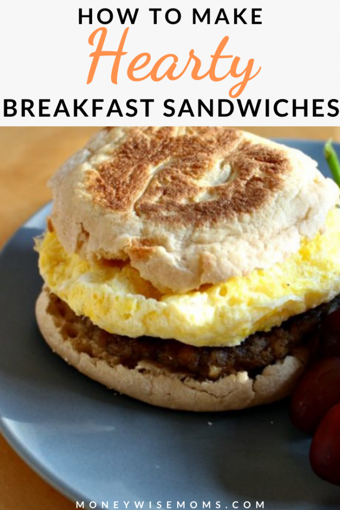 Pin showing the finished hearty breakfast sandwiches with title across the top.