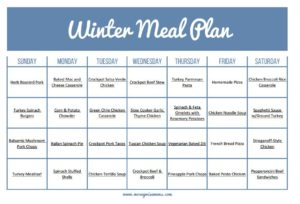 Ultimate Winter Meal Plan Calendar - easy frugal meals