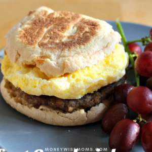 Fuel your tweens for a busy day with these hearty breakfast sandwiches made with egg, sausage and English muffins. So easy & inexpensive!