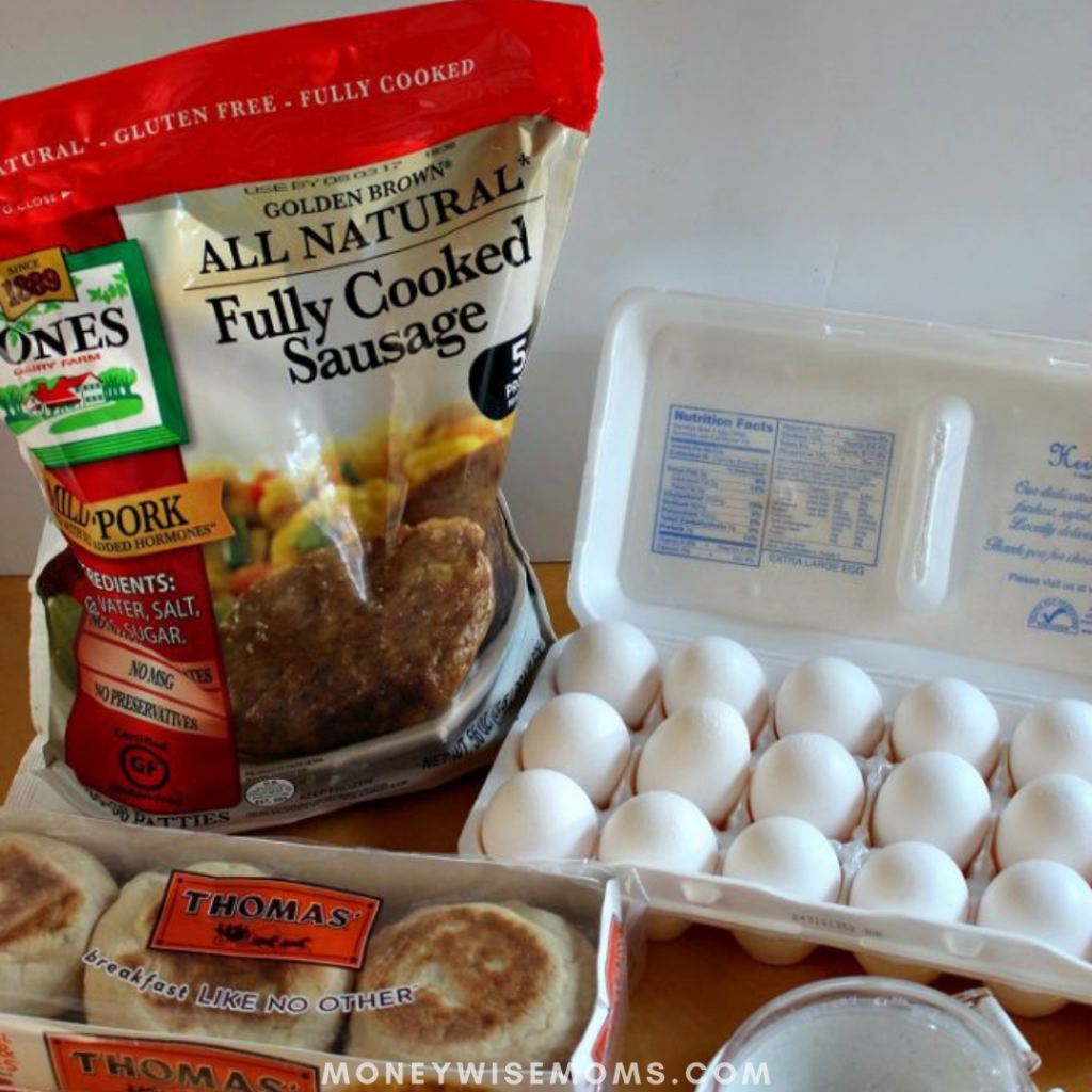 ingredients needed for sausage and egg breakfast sandwiches.