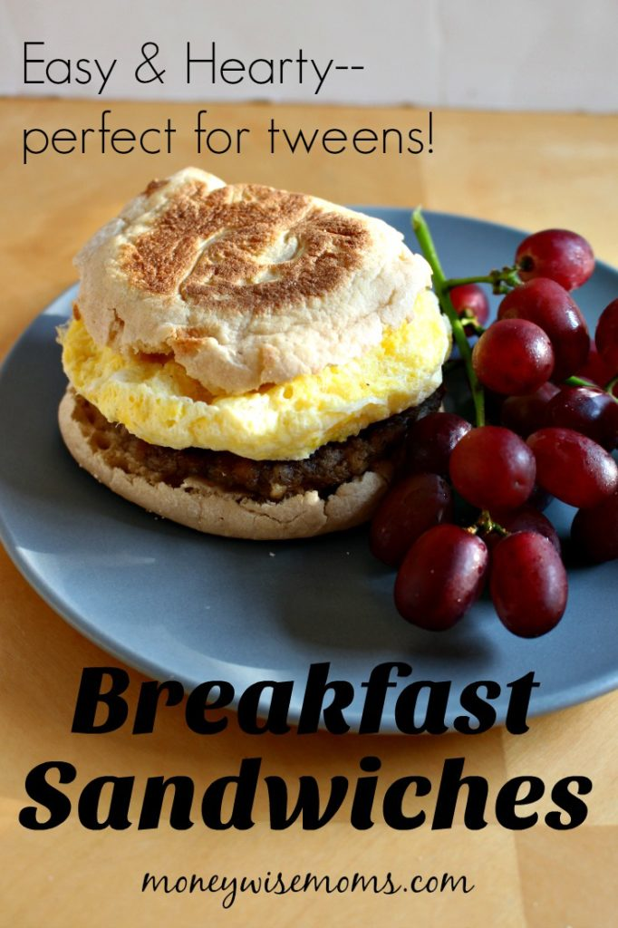 Fuel your tweens for a busy day of school and sports with these hearty Breakfast Sandwiches made with egg, sausage and English muffins. So easy!