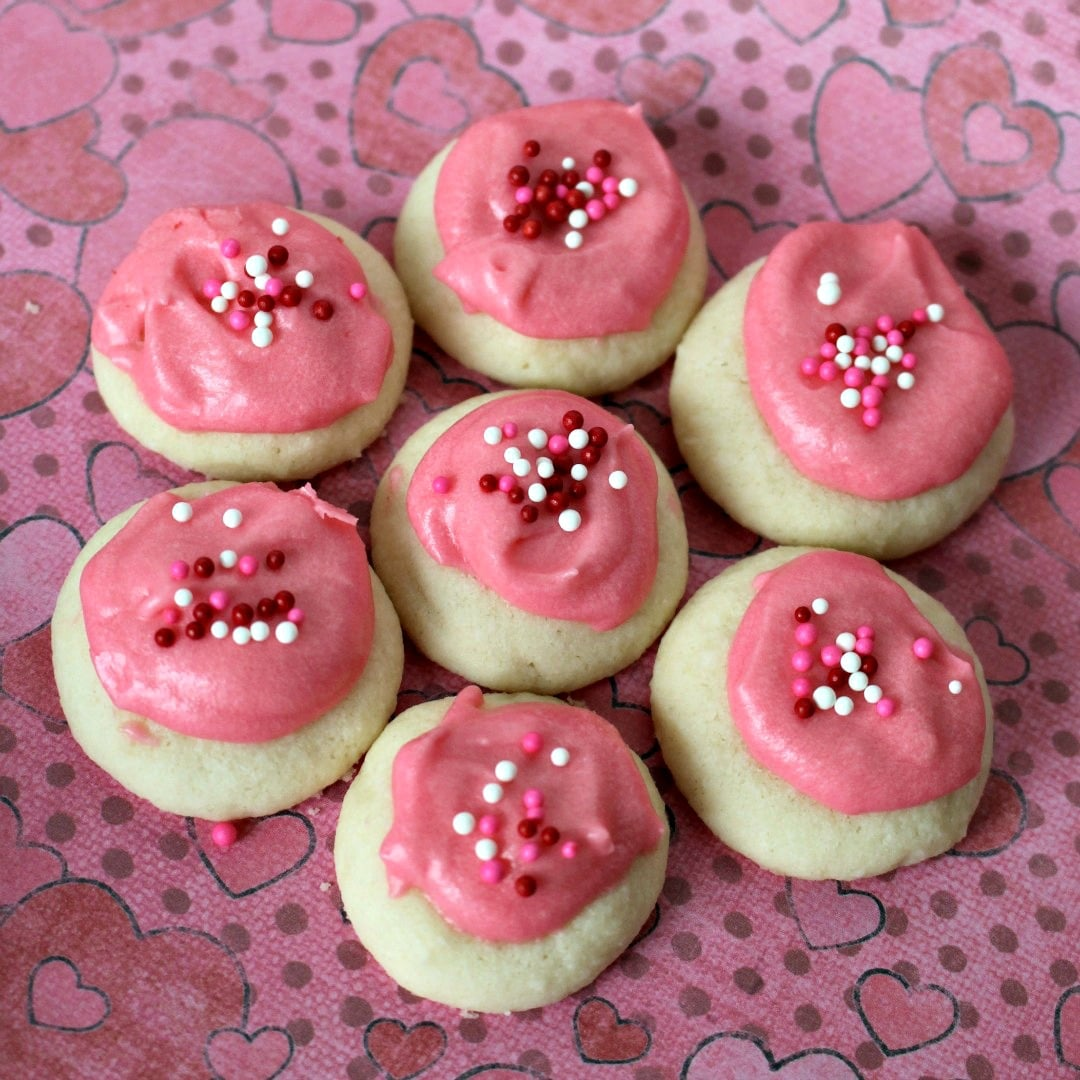 Valentine Raspberry Meltaways - tiny bite-sized cookies