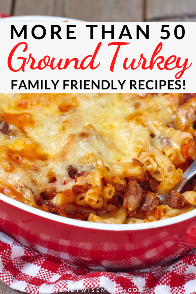 Pin showing a finished ground turkey recipe with title across the top.