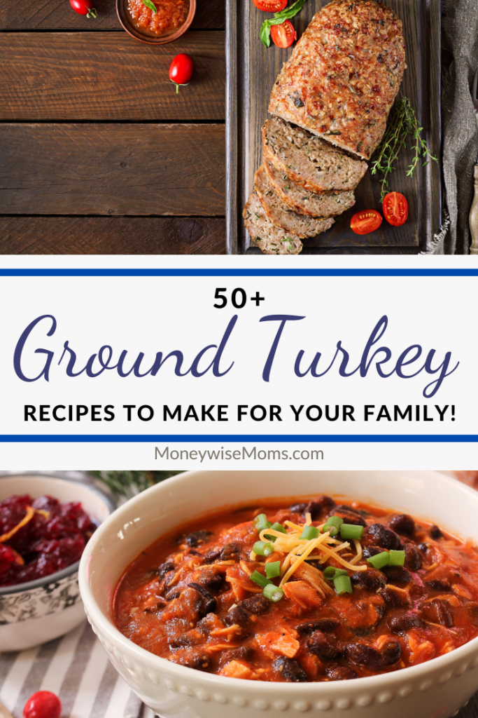 Pin showing the finished ground turkey recipes with title in the middle.