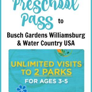 2019 Busch Gardens Preschool Pass - Busch Gardens Williamsburg Water Country USA