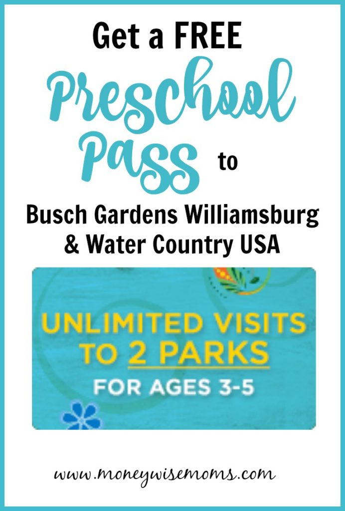 2018 Busch Gardens Preschool Pass - Busch Gardens Williamsburg Water Country USA