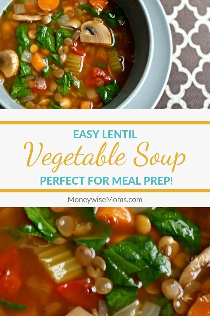 Pin with images of the lentil soup along with the title of the post in the middle.