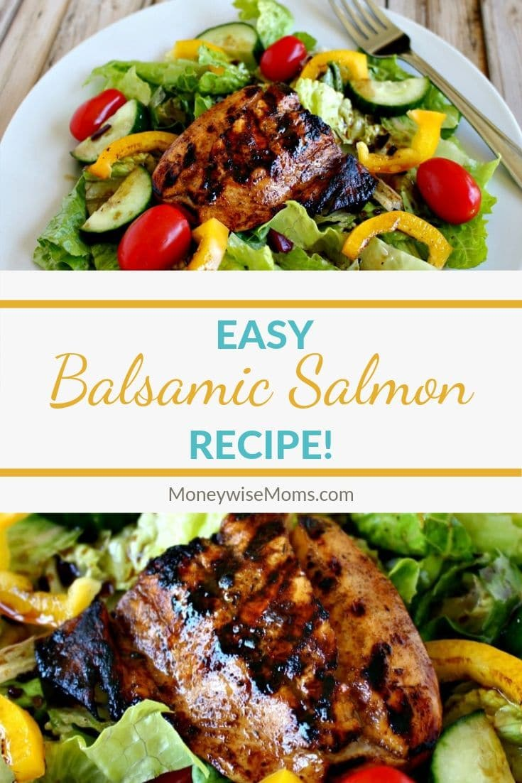 This Balsamic Salmon is a super easy recipe that makes a fabulous lunch or a healthy dinner--in just minutes! It doesn't get much better than an easy dinner recipe! This is one family friendly fish recipe that you won't want to miss!