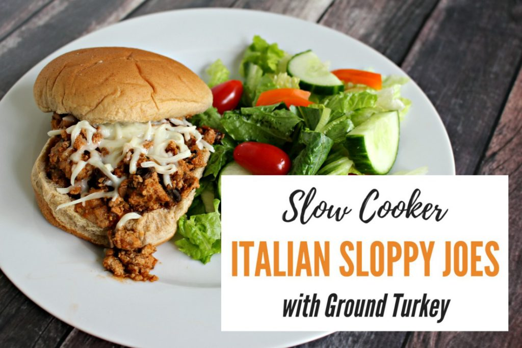Slow Cooker Italian Sloppy Joes with Ground Turkey - easy family meal crockpot