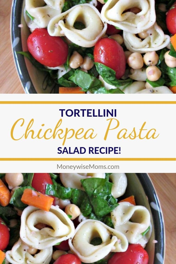 This Tortellini Chickpea Pasta Salad is an easy vegetarian meal that's filled with fresh flavors. It's one of my family's favorite cold dinners.