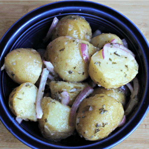 So easy! This Oil and Vinegar Potato Salad is so simple but is so flavorful. Good both warm and cold!
