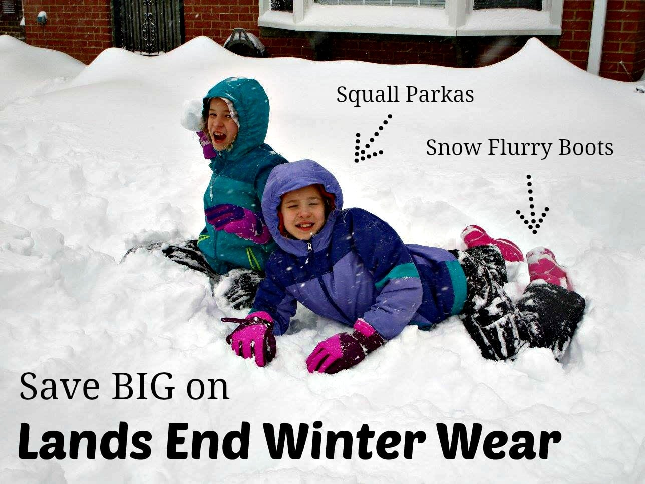 Tips to Save at Lands End - winter shopping for kids - boots and winter coats