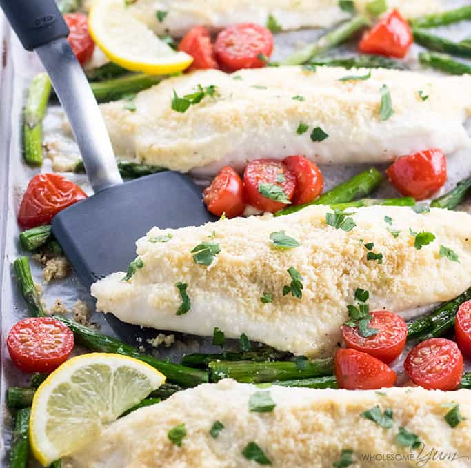 Easy Baked Parmesan Crusted Tilapia from Wholesome Yum | Tilapia Recipes for Kids