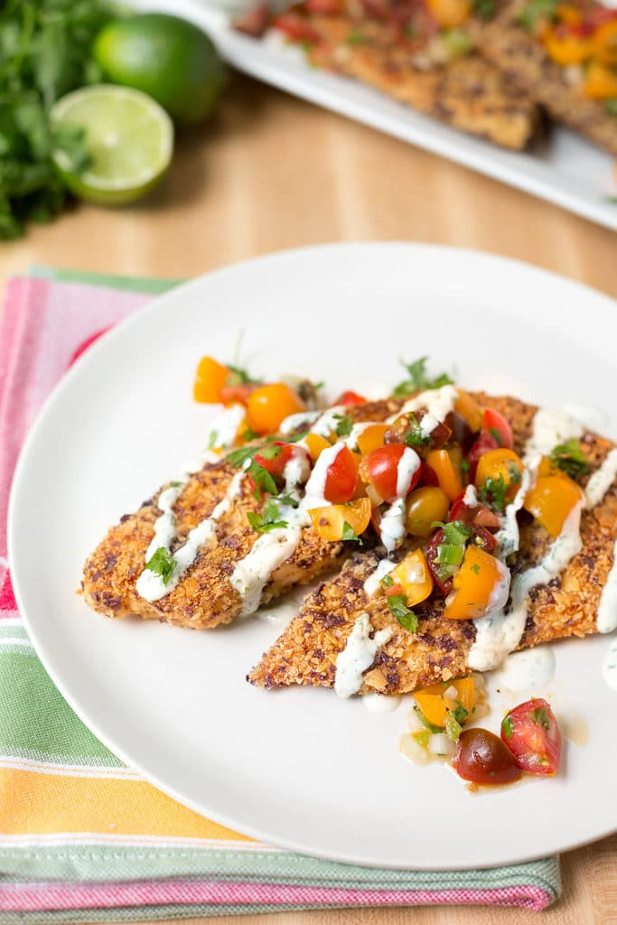 Tortilla Crusted Tilapia from Striped Spatula | Tilapia Recipes for Kids