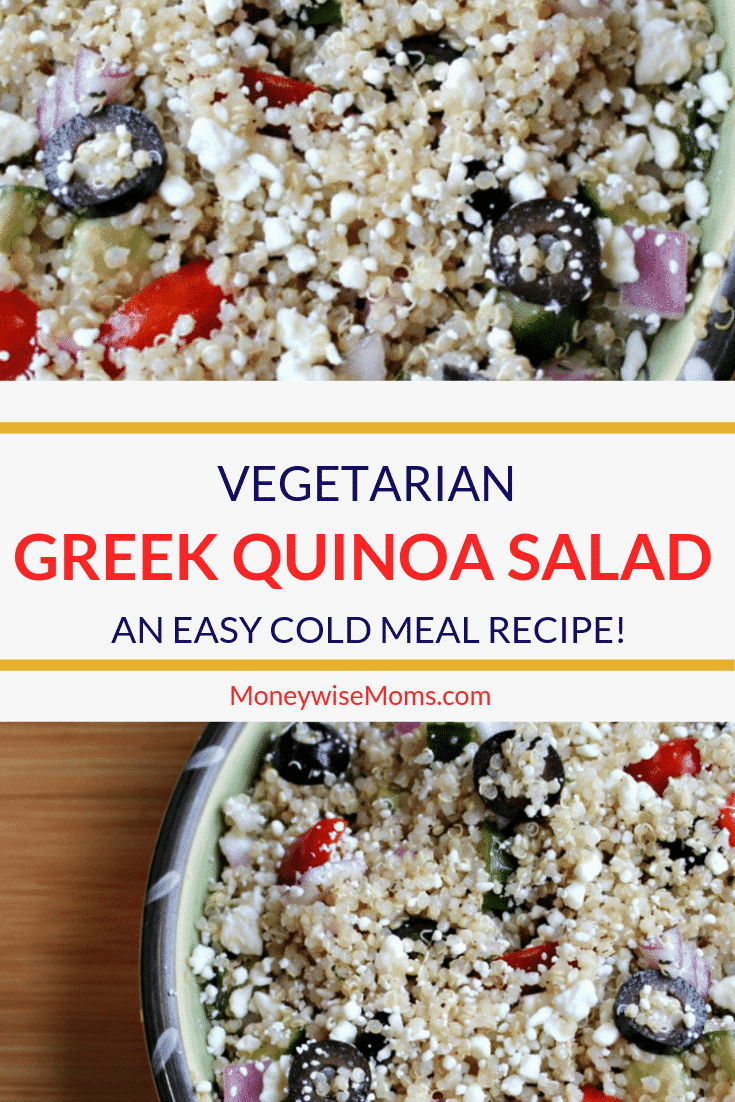 Getting dinner on the table is easier when you have quick recipes on hand. This Vegetarian Greek Quinoa Salad recipe takes less than a30 minutes from start to finish!