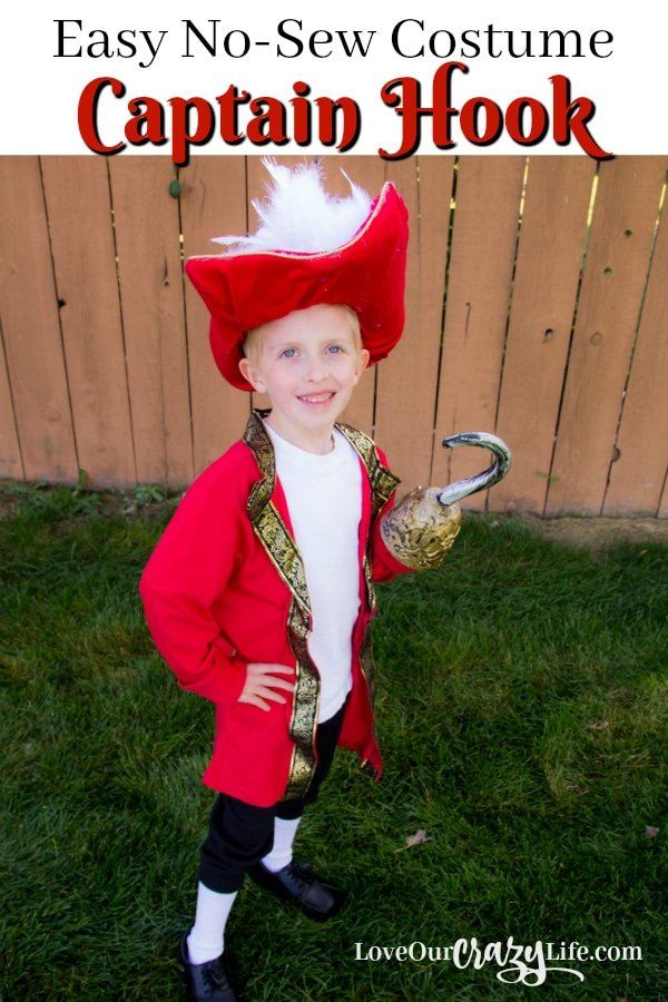 DIY Captain Hook No Sew Costume from Love Our Crazy Life - Quick and Easy DIY Halloween Costumes for Kids