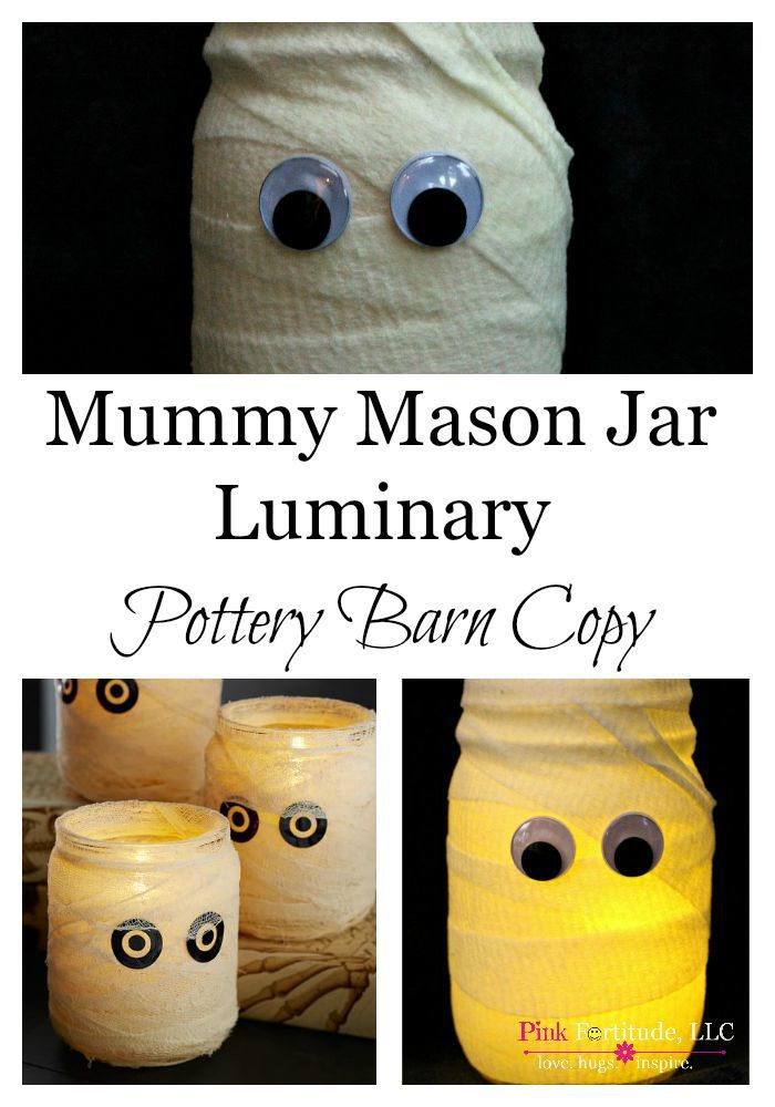 Mummy Mason Jar Luminary from Pink Fortitude - 50 Frugal Halloween Decorations You Can Make