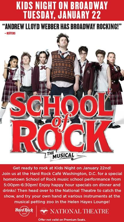 School of Rock Kids Night - Tuesday Jan 22 - DC