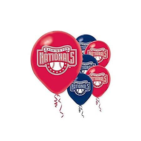 "Washington Nationals Major League Baseball Collection"" Printed Latex Balloons, Party Decoration"