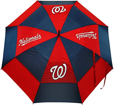MLB Golf Umbrella with Protective Sheath, Double Canopy Wind Protection Design, Auto Open Button
