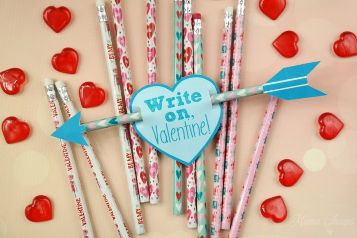 Cupid's Arrow Pencil Valentines + Printable Tags