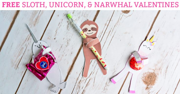 FREE Animal Valentines – Unicorn, Sloth, and Narwhal Valentines