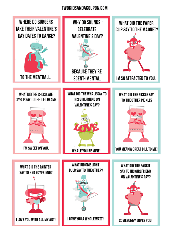 Free Kids Printable Robot Valentines and Lunchbox Jokes
