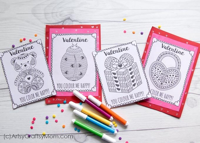 Free Printable Coloring Cards for Valentine's Day