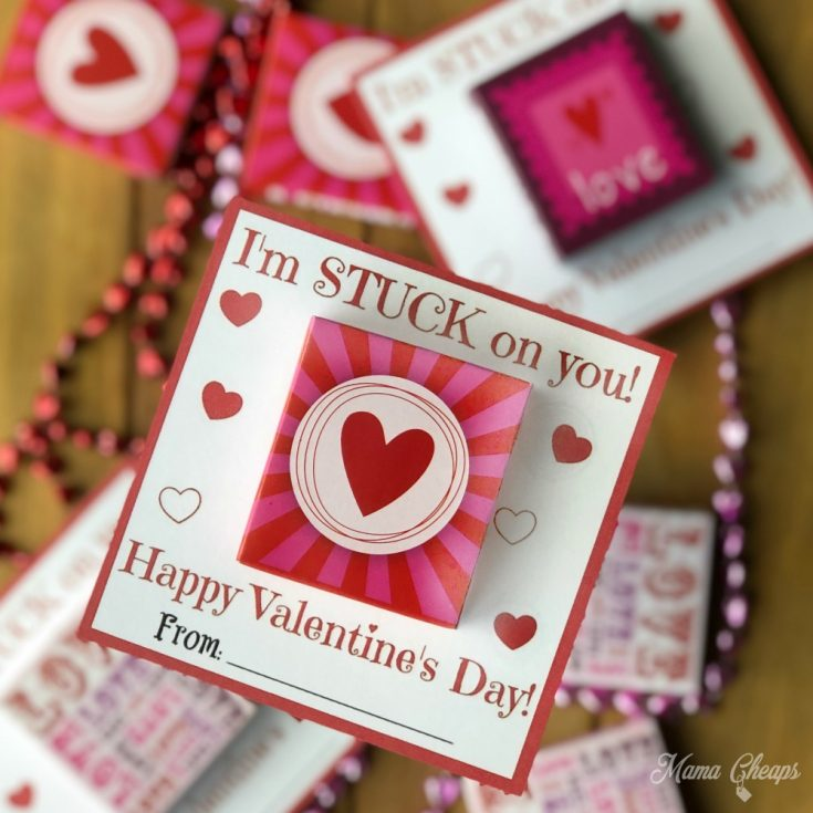 Easy Sticker Valentine Idea + Printable Cards