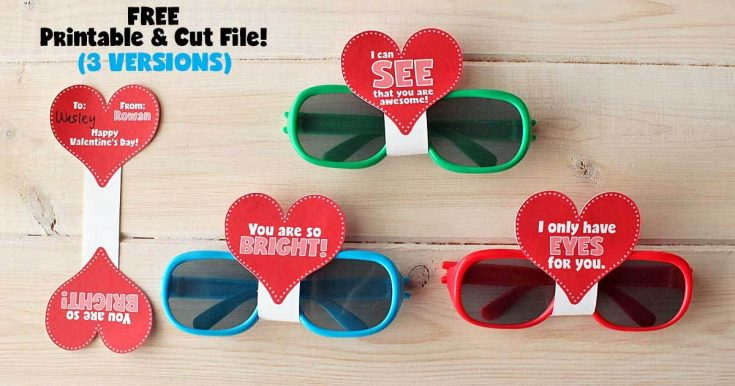 Sunglasses Valentine's Day Cards with FREE Printable