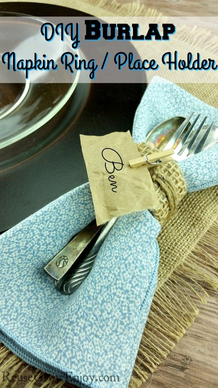 DIY Napkin Ring Place Holder - Using Paper Towel Tube & Burlap