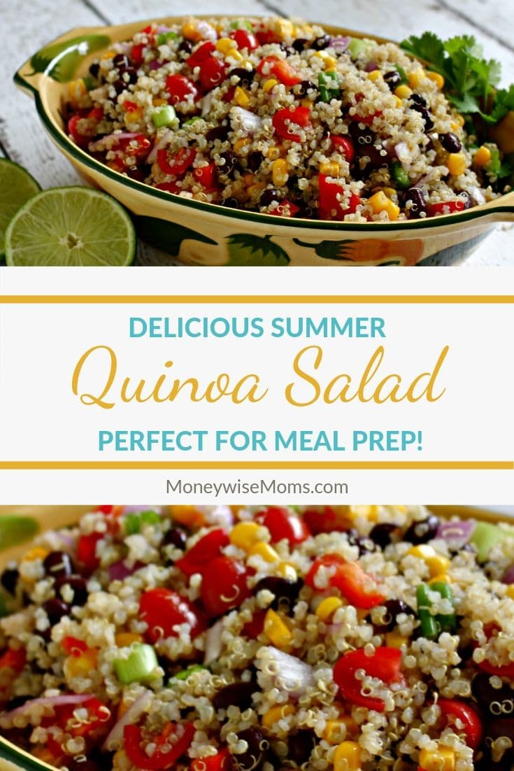 Quinoa Salad pin with two images one on top showing salad with limes next to the dish and one on bottom with up close show of the salad prepared and ready to eat.
