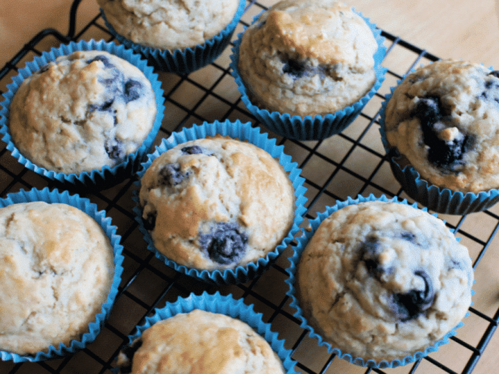 My blueberry oatmeal muffins are insanely good. They're an easy blueberry muffin recipe that the whole family will love. You can make these easy muffins for snacking, breakfast, and more.