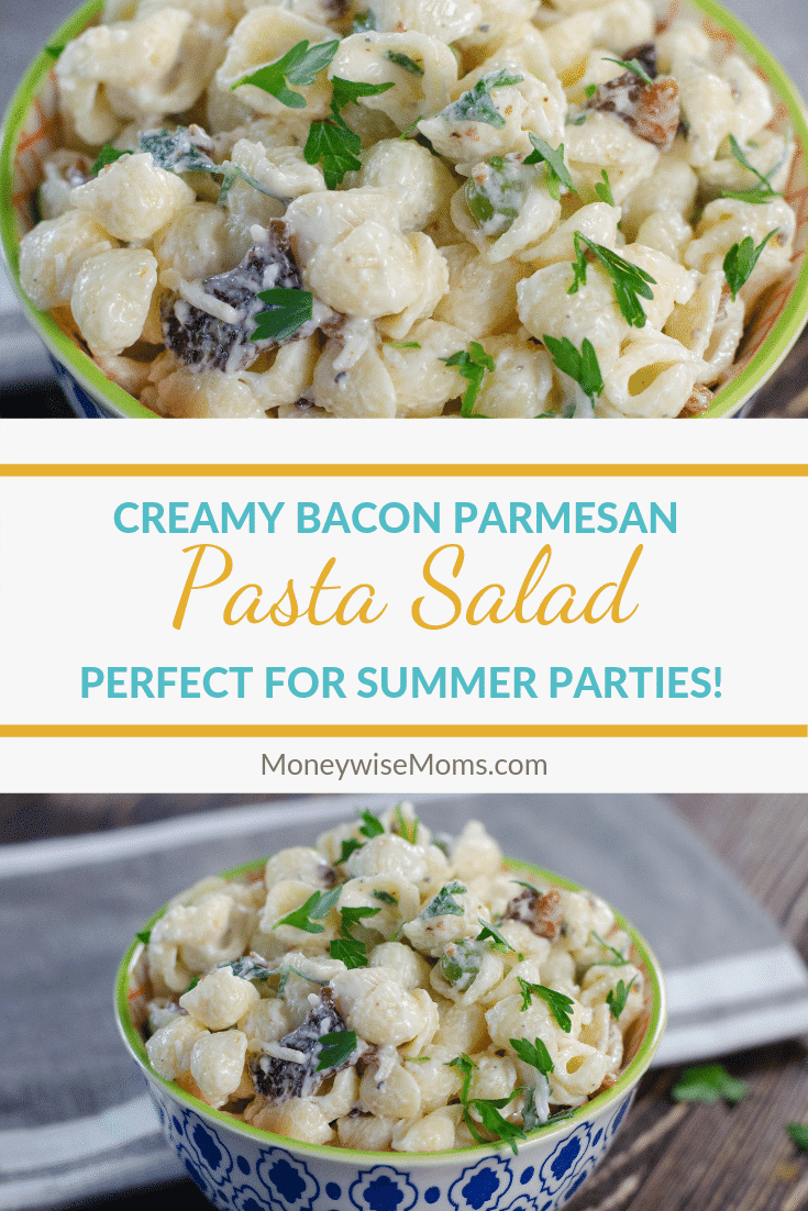 Creamy bacon parmesan pasta salad is a great dish to enjoy year round. It goes just as well at a summer BBQ as it does on the Thanksgiving side dishes menu. Everyone will love quick and easy side dish recipe, even the kids enjoy this one!
