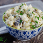 Creamy Bacon Parmesan Pasta Salad in a blue and white bowl, ready to eat.