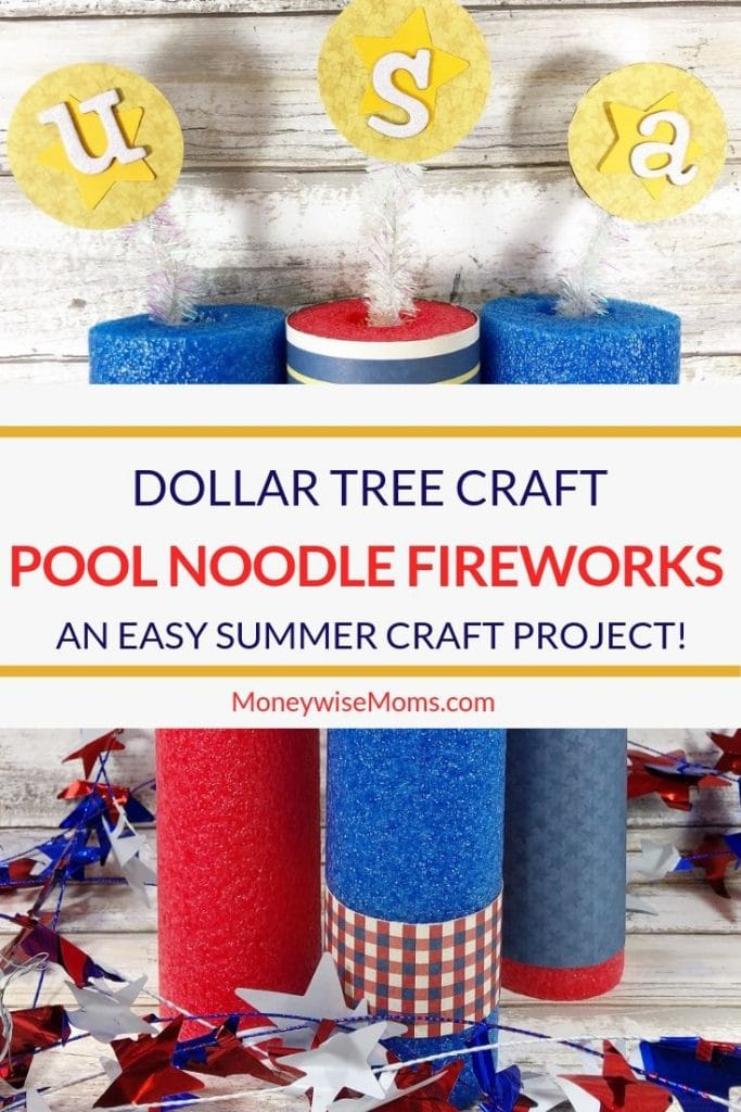 This is such a great summer crafting idea. My pool noodle fireworks craft is made entirely of stuff from the Dollar Tree! If you like Dollar Tree crafts this is a great one to try this summer. An easy craft for kids or adults.