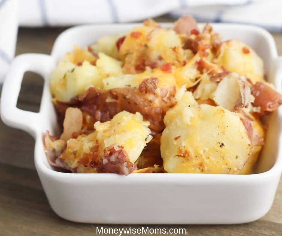 These cheddar bacon ranch smashed potatoes are so delicious and indulgent. A family friendly side dish recipe that is easy to make and tastes great! These ranch smashed potatoes will be a fast favorite for anyone who gives them a try!