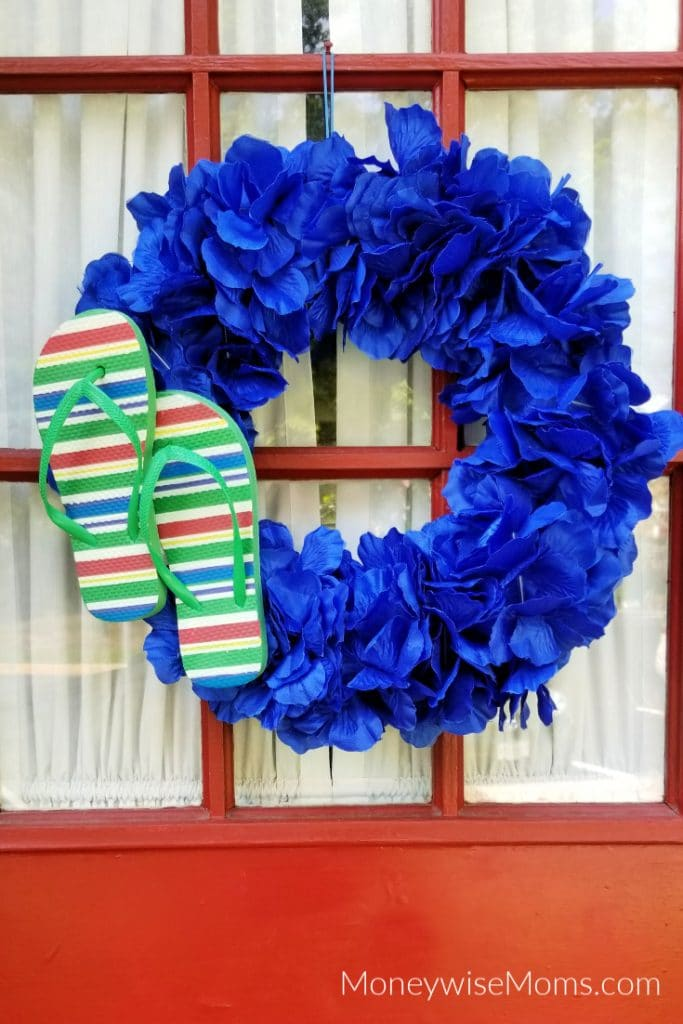 Front door summer wreath from dollar tree