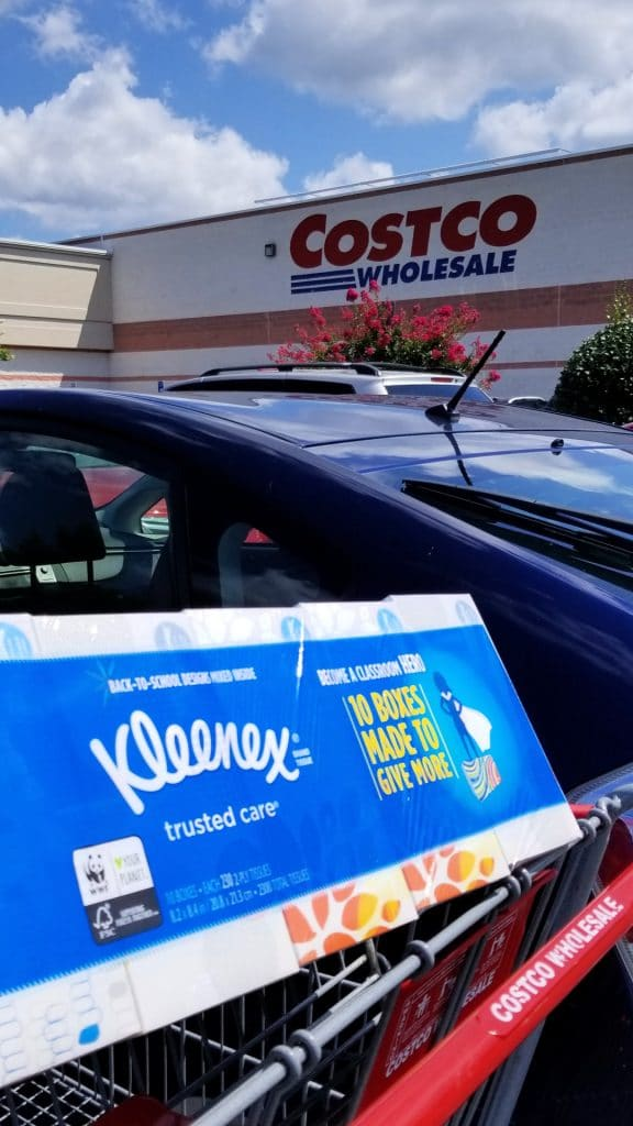 Kleenex in Costco Cart - back to school shopping