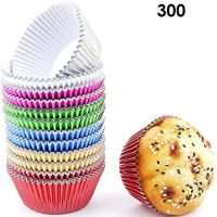 Bakuwe Multicolor Foil Cupcake Liners Standard Muffin Baking Cups, Pack of 300