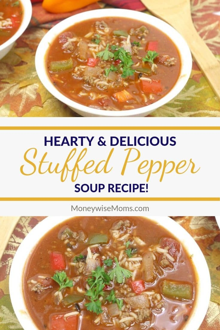 Stuffed pepper soup is an easy weeknight dinner. You can easily make this great family friendly dinner from pre-cooked ingredients! Check out how easy it is to meal prep with this recipe below!