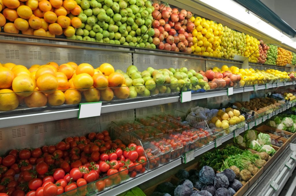 Supermarket produce department - saving money on groceries