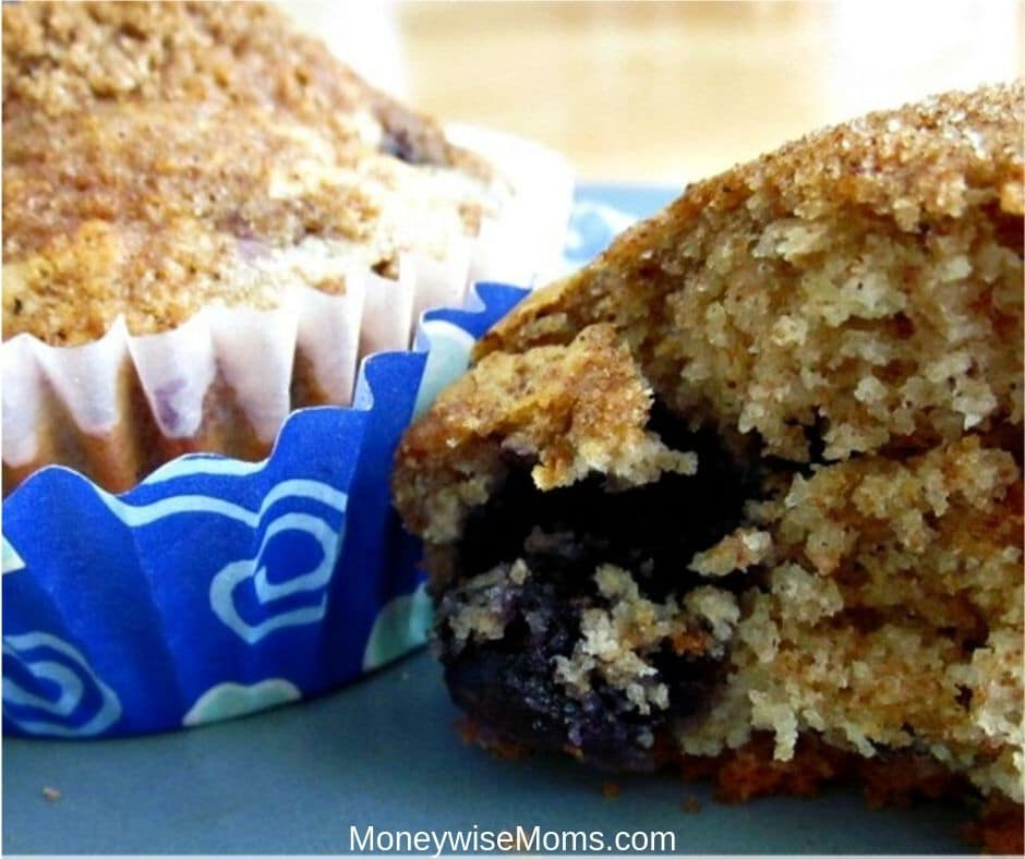 These Whole Wheat Blueberry Muffins make a great afterschool snack or lunchbox treat!