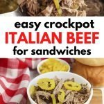 Easy shredded Italian beef made in the crockpot