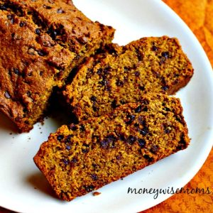 Chocolate Chip Pumpkin Bread on white platter