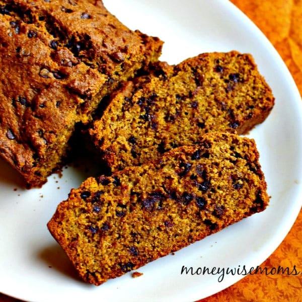 Chocolate Chip Pumpkin Bread on white platter